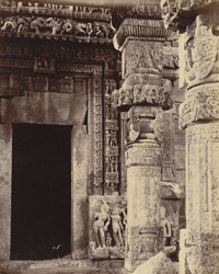 Close view of entrance porch and doorway of the Gadarmal Temple, Pathari, Bhopal State. 10031320